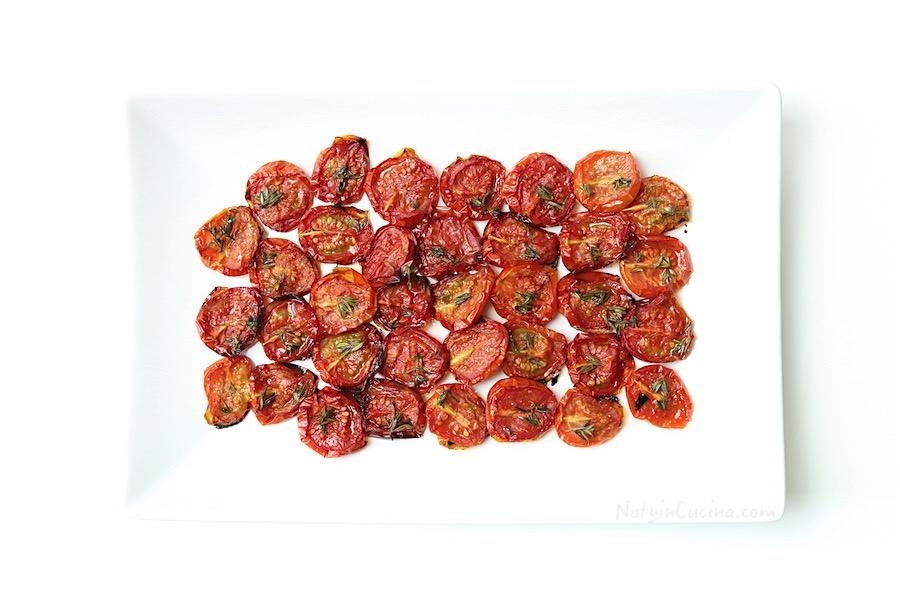 pomodorini datterini in confit, con timo e aglio